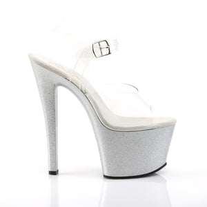 "SKY-308MG 7"" Heel Clear and Silver Pole Dancing Platforms-Pleaser- Sexy Shoes Fetish Heels"