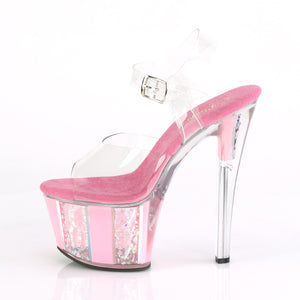 SKY-308OF Pleaser Clear/B. Pink Platforms (Exotic Dancing)