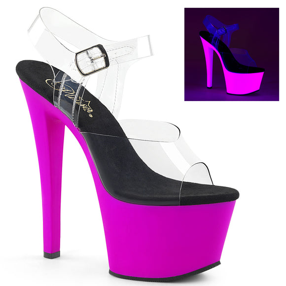 SKY-308UV Sexy Sandals with Peep Toes UV Neon High Heels by Pleaser Shoes