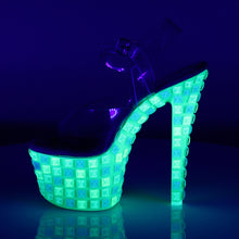 "Load image into Gallery viewer, SKY-308UVTL 7"" Heel Clear Neon Green Pole Dancing Platforms"