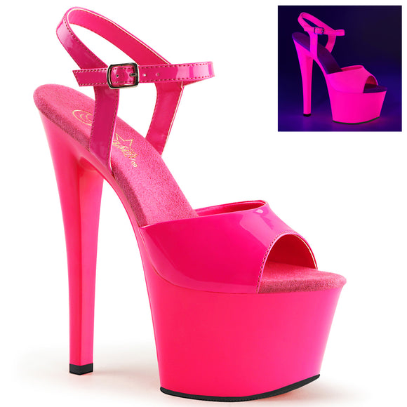 SKY-309UV Pleaser Sexy Shoes 7 Inch Heel Ankle Strap Sandals Blacklight Sensitive - Miss Hollywood - 1