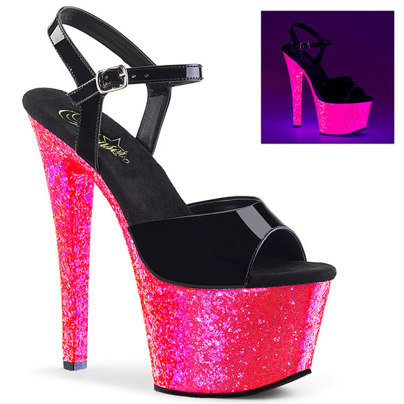 SKY-309UVLG Pleaser Sexy Shoes 7 Inch Heel Ankle Strap Glitter Sandals Blacklight Sensitive