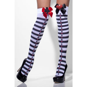 SM42708 Fever Queen of Hearts Thigh Highs Hold ups-Stockings-Smiffys-One Size-Miss Hollywood Sexy Shoes