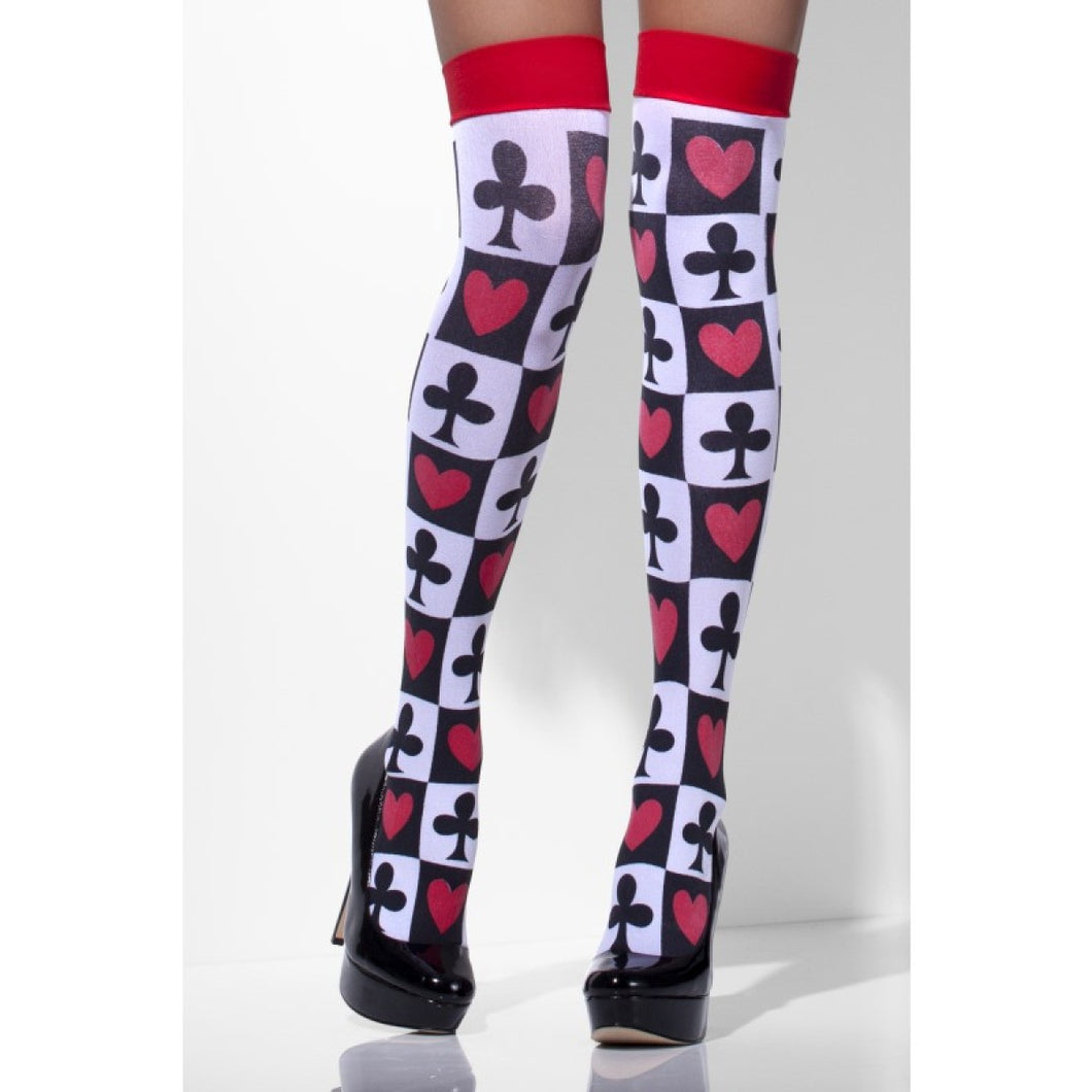 SM42709 Fever Poker Pattern Thigh Highs Hold ups-Stockings-Smiffys-One Size-Miss Hollywood Sexy Shoes