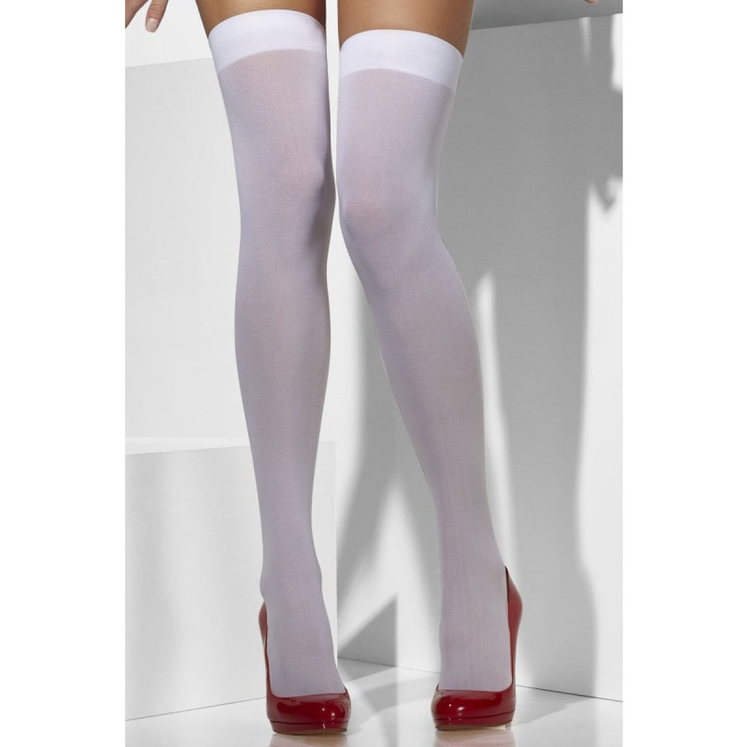 SM42738 Smiffys White Opaque Thigh Highs Hold ups-Stockings-Smiffys-One Size-Miss Hollywood Sexy Shoes