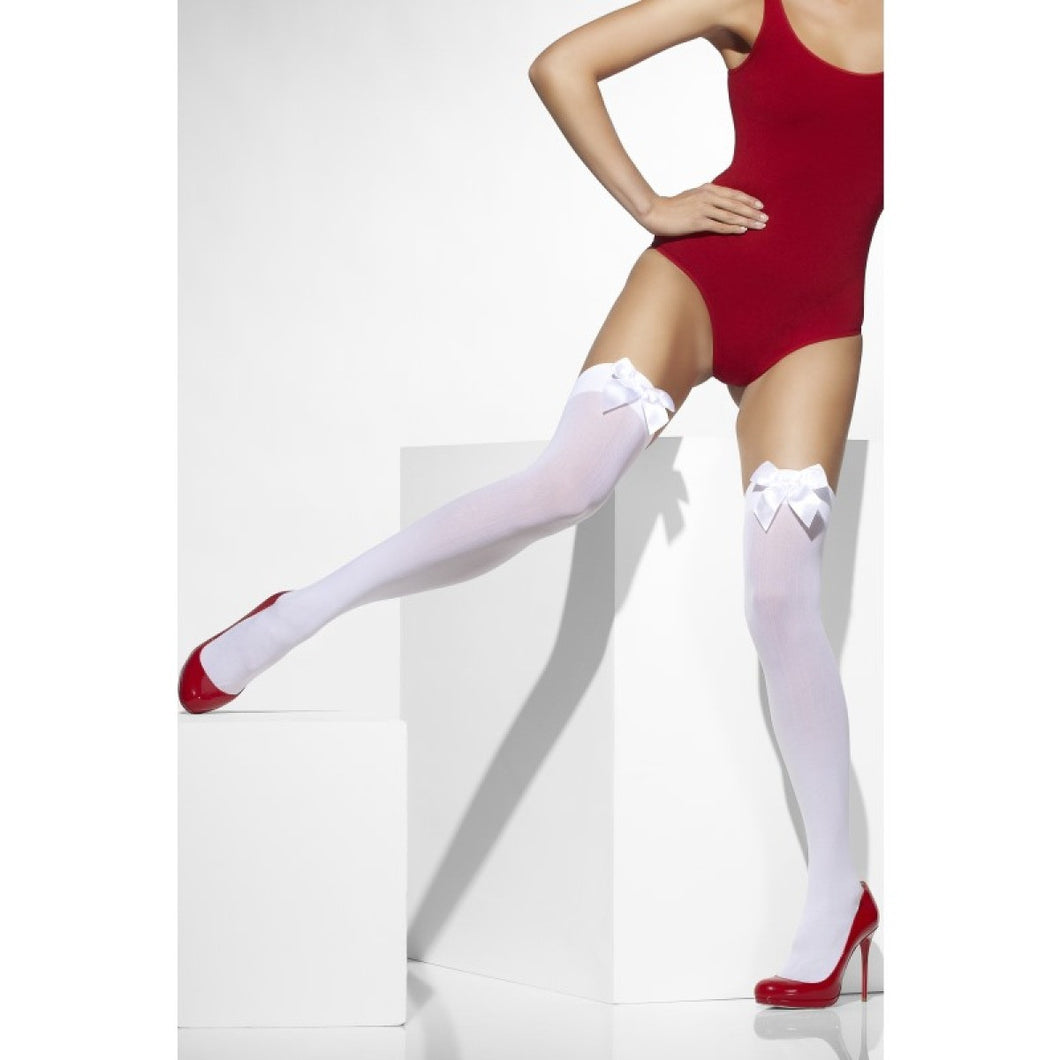 SM42753 Smiffys White Thigh Highs Hold ups-Stockings-Smiffys-One Size-Miss Hollywood Sexy Shoes
