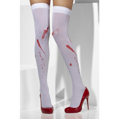 SM42755 Smiffys Zombie Blood Opaque Thigh Highs Hold ups-Stockings-Smiffys-One Size-Miss Hollywood Sexy Shoes