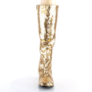 "SPECTACUL-300SQ Bordello Burlesque 3"" Heel Gold Sequin Boots"