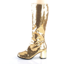 Load image into Gallery viewer, SPECTACUL-300SQ Bordello Kinky Boots 3 Inch Block Heel Sequins Knee High Length Boots-Boots-Bordello-Footwear Fetish-Gold Sequins-Miss Hollywood Sexy Shoes Pleaser Shoes