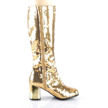 Load image into Gallery viewer, SPECTACUL-300SQ Bordello Kinky Boots 3 Inch Block Heel Sequins Knee High Length Boots-Boots-Bordello-Footwear Fetish-Gold Sequins-Miss Hollywood Sexy Shoes Pole Dancer Shoe Shop