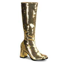 "Load image into Gallery viewer, SPECTACUL-300SQ Bordello Burlesque 3"" Heel Gold Sequin Boots"