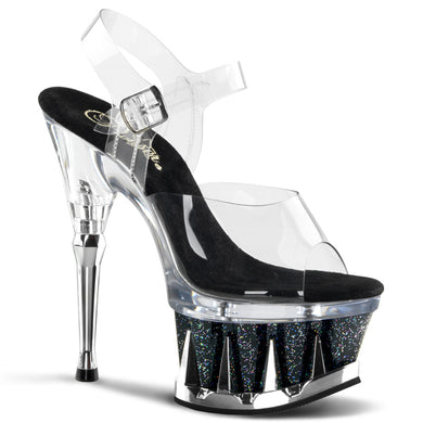 SPIKY-608MG Pleaser Sexy Shoes 6 1/2 Inch Heel, 2 3/4 Inch Platforms Ankle Strap Sandals - Miss Hollywood Pleaser Shoe Supplier