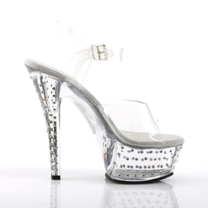 STARDUST-608 Pleaser Sexy Shoes 6 Inch Rhinestone Studded Ankle Strap Platforms Sandals