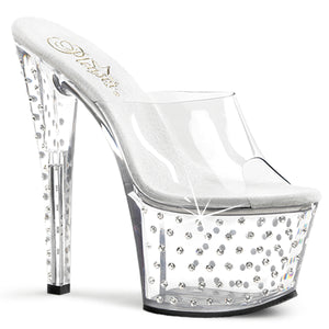 STARDUST-701 Pleaser Sexy Shoes 7 Inch Rhinestone Studded Platform Slide Slip on Shoes - Pleasers Shoes