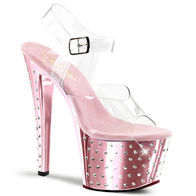 STARDUST-708 Pleaser Sexy Shoes 7 Inch Heel, 2 3/4 Inch Platforms Ankle Strap Sandals - Miss Hollywood Pleaser Shoe Supplier