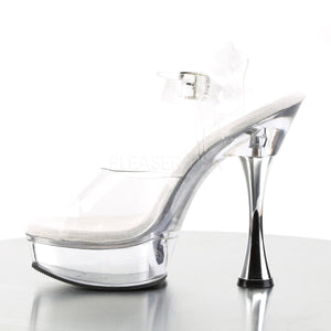 SWEET-408 Pleaser Sexy Clear Shoes 5 1/2 Inch Silver Cone Sandals