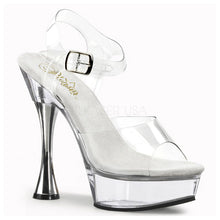 Load image into Gallery viewer, SWEET-408 Pleaser Sexy Clear Shoes 5 1/2 Inch Silver Cone Sandals