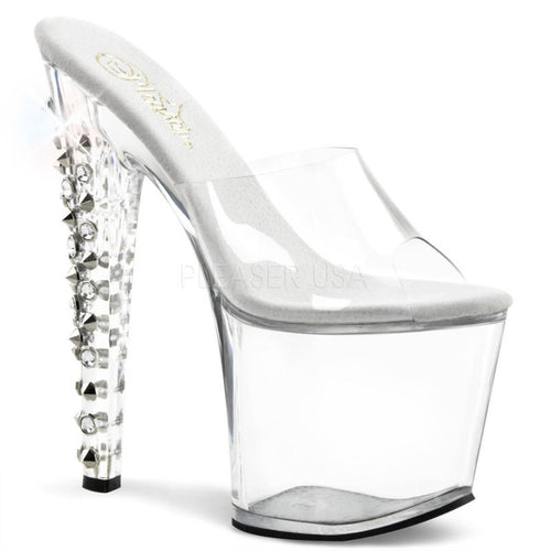 TABOO-701DS Pleaser Sexy Shoes 7 1/2 Inch Stiletto Heel Two-Band Platforms Slide Slip on Shoes-Platforms (Exotic Dancing)-Pleaser-7 uk (40 Europe - 10 Usa)-Clear/Clear-Miss Hollywood Sexy Shoes