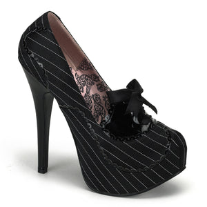 "TEEZE-01 Hidden Platform 6"" Heel Black Satin Sexy Shoes"