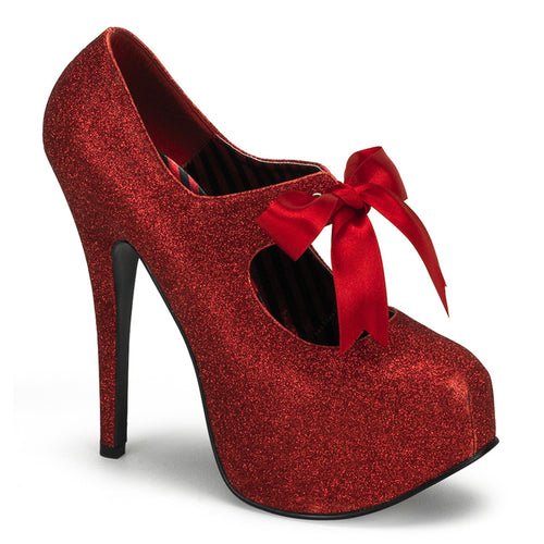 TEEZE-04G Bordello Red Glitter Sexy Shoes High Heel Glitter Platform with Ribbon Bow Tie-Shoes-Bordello-Footwear Fetish-Miss Hollywood Sexy Shoes