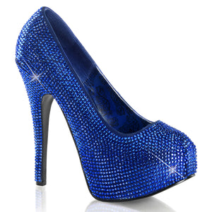 TEEZE-06R Bordello Sexy Shoes Rhinestoned Concealed Platform Stiletto Heel Shoes Pumps-Shoes-Bordello-7 uk (40 Europe - 10 Usa)-Royal Blue Satin RS-Miss Hollywood Sexy Shoes