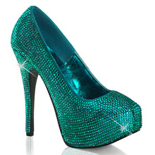 Load image into Gallery viewer, TEEZE-06R Bordello Sexy Shoes Rhinestoned Concealed Platform Stiletto Heel Shoes Pumps-Shoes-Bordello-7 uk (40 Europe - 10 Usa)-Turquoise Satin RS-Miss Hollywood Sexy Shoes
