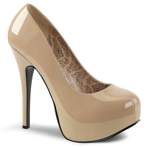 TEEZE-06W Wide Width Stiletto Heel Shoes Pumps Cream Patent