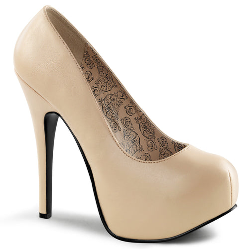 TEEZE-06W Bordello Sexy Shoes Hidden Platforms Wide Width Stiletto Heel Shoes Pumps Cream Faux Leather