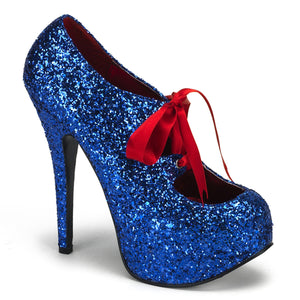 "TEEZE-10G Hidden Platform 6"" Heel Blue Glitter Sexy Shoes-Bordello- Sexy Shoes"
