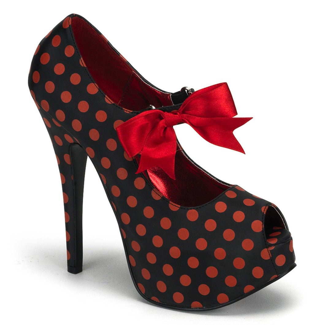 TEEZE-25 Bordello Sexy Shoes Peep Toe Stiletto Heel Shoes Pumps with Concealed Platform-Shoes-Bordello-7 uk (40 Europe - 10 Usa)-Black Satin Pu-Red (Polka Dots)-Miss Hollywood Sexy Shoes