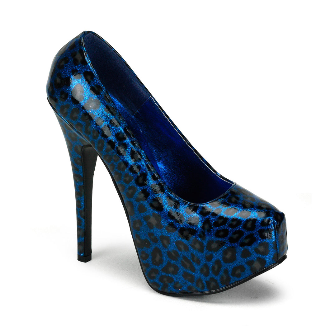 TEEZE-37 Hidden Platform 6 Inch Blue Cheetah Sexy Shoes