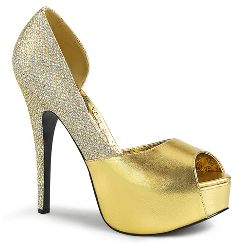 TEEZE-41W Sexy Gold Glitter Shoes Platforms Wide Width Stiletto Heel Shoes