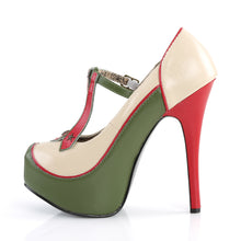 Load image into Gallery viewer, Sexy TEEZE-43 Bordello Sexy Shoes Hidden Platforms Military Themed T-Strap Stiletto Heel Shoes Pumps  Bordello