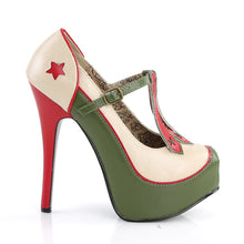 Load image into Gallery viewer, TEEZE-43 Bordello Sexy Shoes Hidden Platforms Military Themed T-Strap Stiletto Heel Shoes Pumps-Shoes-Bordello-Footwear Fetish-Cream-Olive Green Pu-Miss Hollywood Sexy Shoes Pole Dancer Shoe Shop