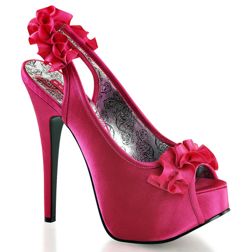 TEEZE-56 Bordello Sexy Burlesque Slingback Frilly Peep Toe Shoes Pink