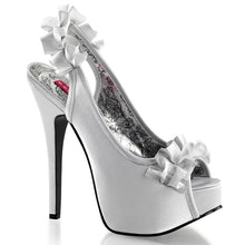 Load image into Gallery viewer, TEEZE-56 Hidden Platform 6 Inch Heel Silver Satin Sexy Shoes