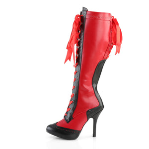 TEMPT-126 Bordello 4 1/2 Inch Heel Ribbon Lace Up Knee High Length Platform Boots-Boots-Bordello-Footwear Fetish-Red-Black Pu-Miss Hollywood Sexy Shoes Pleaser Shoes