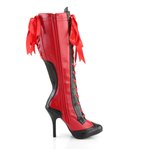 TEMPT-126 Bordello 4 1/2 Inch Heel Ribbon Lace Up Knee High Length Platform Boots-Boots-Bordello-Footwear Fetish-Red-Black Pu-Miss Hollywood Sexy Shoes Pole Dancer Shoe Shop