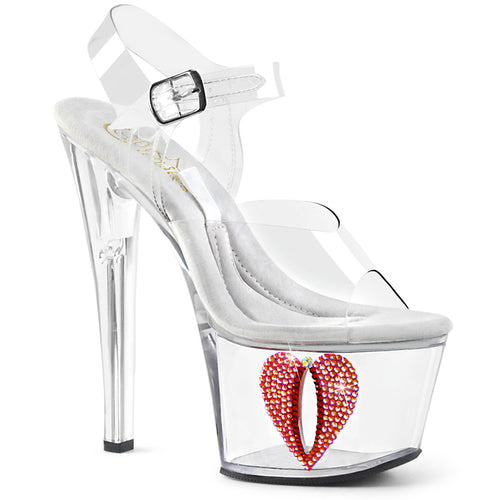 Sexy TIPJAR-708-6 Pleaser Sexy Shoes 7 Inch Rhinestone Heart Bling Tip Jar Sandals  Pleaser - Miss Hollywood - Sexy Shoes