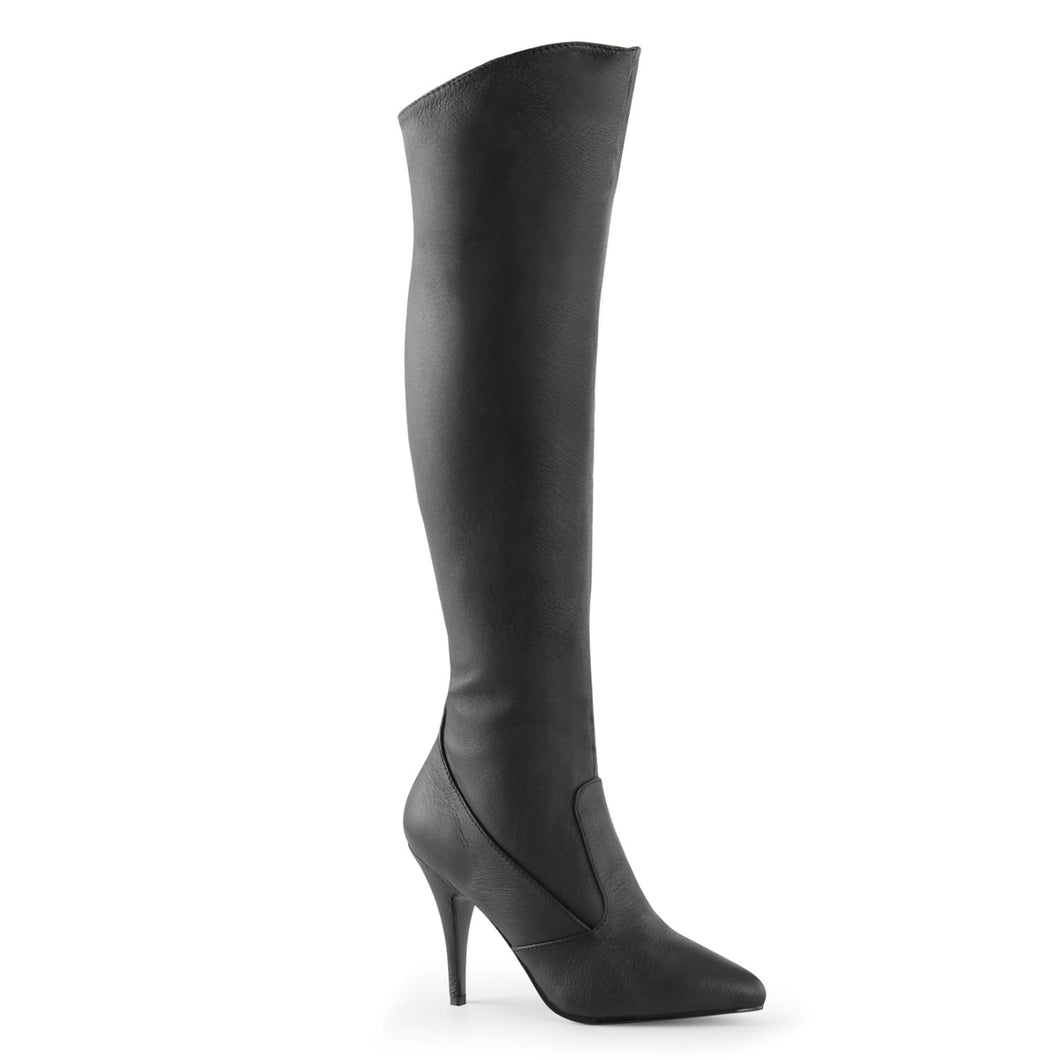 VANITY-2013 Pleaser Sexy Shoes 4 Inch Pull-On Cuffed Knee High Length Boots, 1/2 Inside Zip