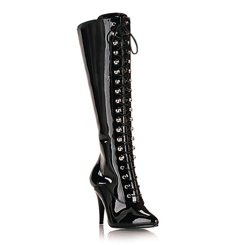VANITY-2020 Pleaser Kinky Boots 4 Inch Knee High Length Boots Elasticated Panel-Pleaser-Miss Hollywood Sexy Shoes