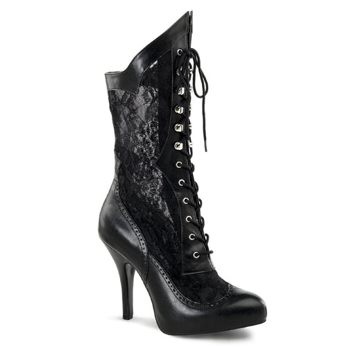 VICTORIAN-116X Funtasma Plus Sizes & Wide Width/Shaft - Sexy Calf Boots-Plus Sizes & Wide Width/Shaft-Funtasma-Footwear Fetish-Black Pu-Lace-Miss Hollywood Sexy Shoes