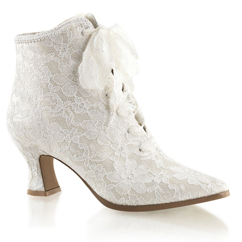 VICTORIAN-30 Fabulicious Ankle Boots - Sexy Ivory Satin-Lace Fetish Footwear-Boots-Fabulicious-Footwear Fetish-Ivory Satin-Lace-Miss Hollywood Sexy Shoes
