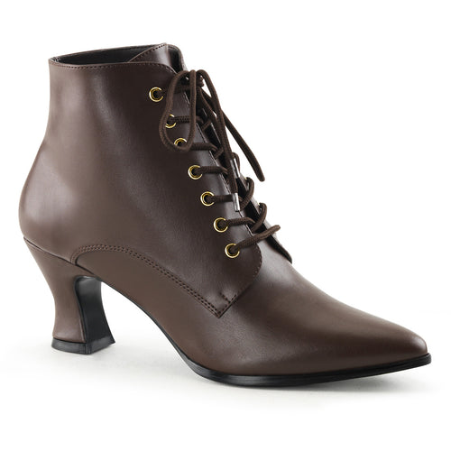 VICTORIAN-35 Funtasma Women's Boots - Sexy Brown Pu Fetish Footwear-Women's Boots-Funtasma-Footwear Fetish-Brown Pu-Miss Hollywood Sexy Shoes