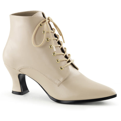 VICTORIAN-35 Funtasma Women's Boots Cream Pu Victorian Style Fancy Dress Boots-Women's Boots-Funtasma-Footwear Fetish-Cream Pu-Miss Hollywood Sexy Shoes