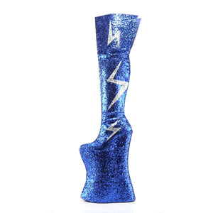 VIVACIOUS-3016 Royal Blue Silver Glitter Platform Thigh Boot