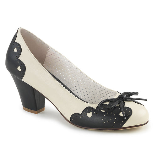 WIGGLE-17 Pin Up 2.5 Inch Heel Black-Cream Fetish Footwear