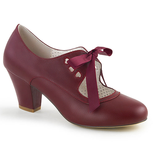 WIGGLE-32 Pin Up 2.5 Inch Heel Burgundy Fetish Footwear