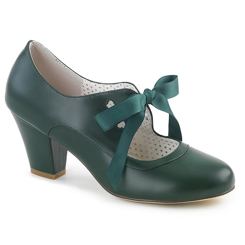 WIGGLE-32 Pin Up 2.5 Inch Heel Dark Green Fetish Footwear
