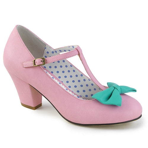WIGGLE-50 Pin Up 2.5 Inch Heel Pink-Teal Fetish Footwear